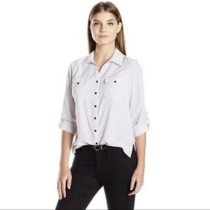 New NY Collection polka dot button up blouse top
